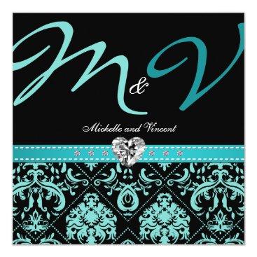 Elegant Aqua Blue Damask Wedding Invites
