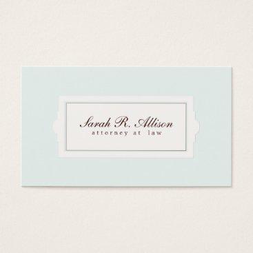 Elegant Attorney Plaque Style Light Blue Business Card