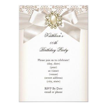 Elegant Birthday Party Damask Pearl Cream 3 Invitation