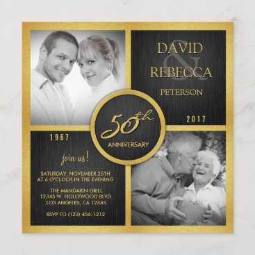Elegant Black and Gold 50th Wedding Anniversary Invitation
