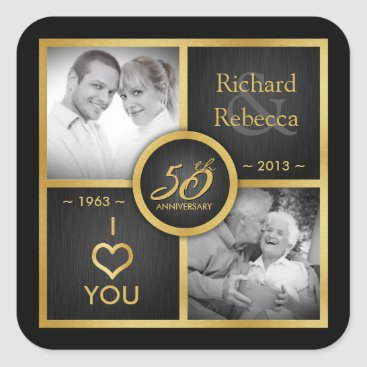 Elegant Black and Gold 50th Wedding Anniversary Square Sticker