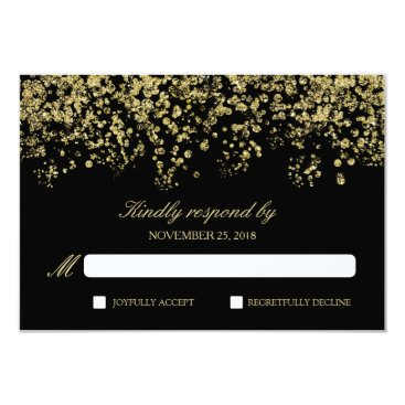 Elegant Black and Gold Confetti Polka-Dots RSVP Card