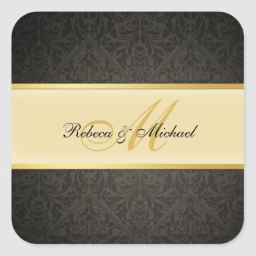 Elegant black and Gold Damask Monogram Wedding Square Sticker