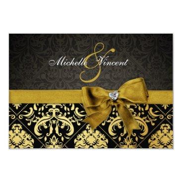 Elegant Black and Gold Damask RSVP Card