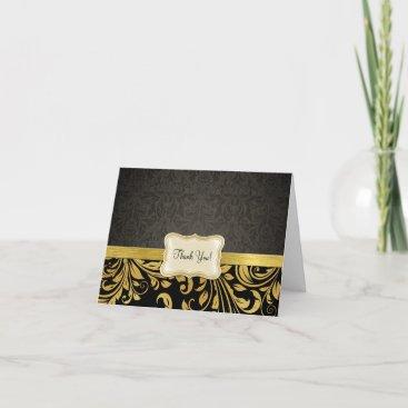 Elegant Black and Gold Damask Thank You Card