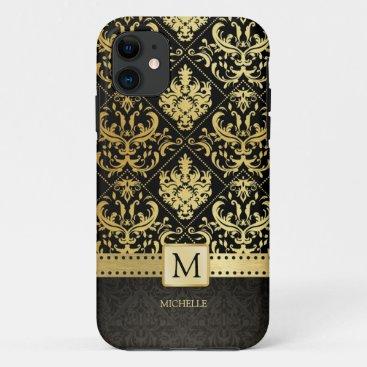 Elegant Black and Gold Damask wiht Monogram iPhone 11 Case