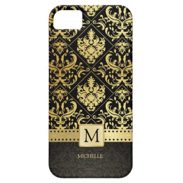 Elegant Black and Gold Damask wiht Monogram iPhone SE/5/5s Case