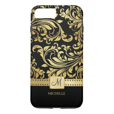 Elegant Black and Gold Damask with Monogram iPhone 8 Plus/7 Plus Case
