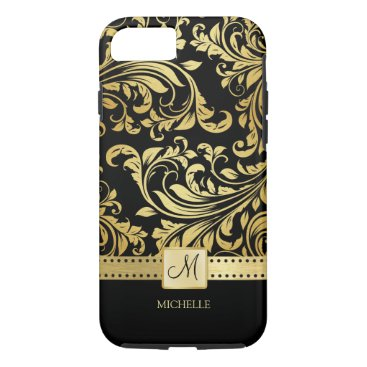 Elegant Black and Gold Damask with Monogram iPhone 8/7 Case