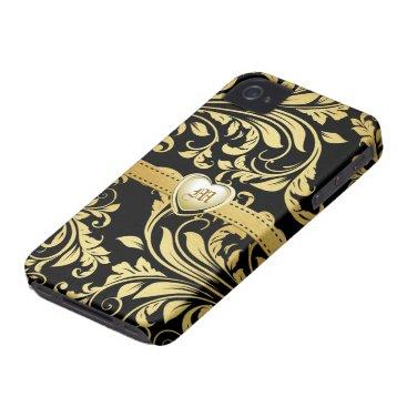 Elegant Black and Gold Damasked Monogram iPhone 4 Cover