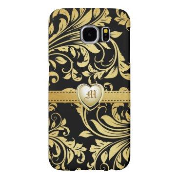 Elegant Black and Gold Damasked Monogram Samsung Galaxy S6 Case