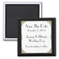 Elegant Black and Gold Frame Save the Date Magnet | Zazzle