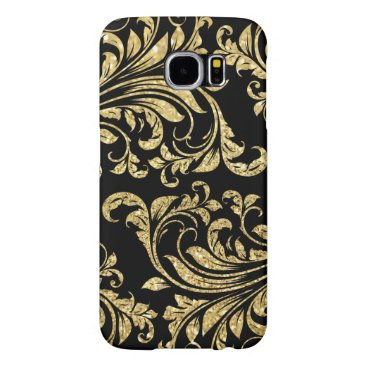 Elegant black and gold glitter floral damask samsung galaxy s6 case