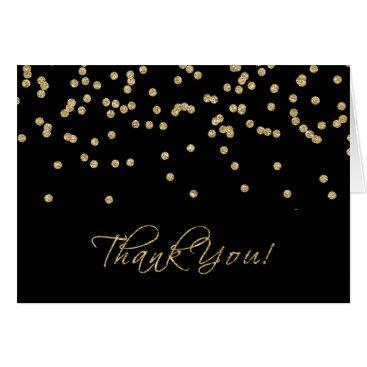 Elegant Black and Gold Polka-Dots Thank You! Card