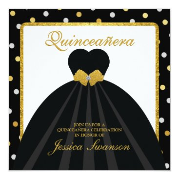 Elegant Black and Gold Quinceanera Card