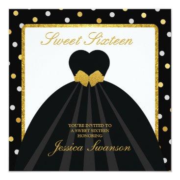 Elegant Black and Gold Sweet Sixteen Invitation