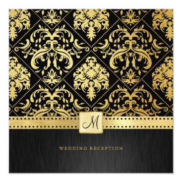 Elegant Black and Gold Vintage Damask Reception Invitation