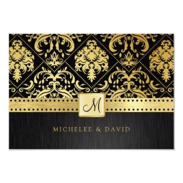 Elegant Black and Gold Vintage Damask RSVP Card
