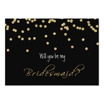 Elegant black and Gold Will you be my bridesmaid? Card