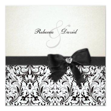 Elegant Black and Ivory Damask with diamond bow Card