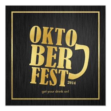 Elegant Black and Metallic Gold Oktoberfest 2014 Card