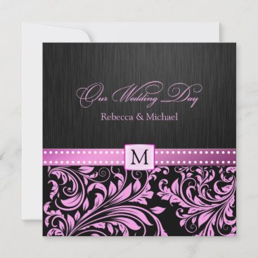 Elegant Black and Pink Damask with Monogram Invitation