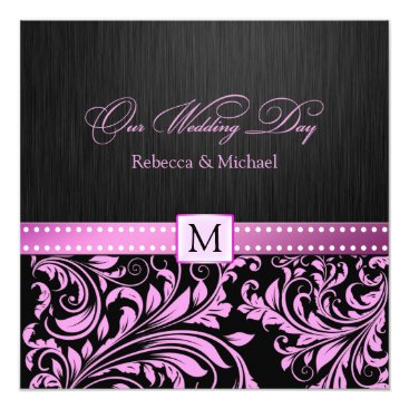 Elegant Black and Pink Damask with Monogram Invitation