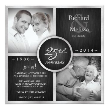 Elegant Black and Silver 25th Wedding Anniversary Invitation