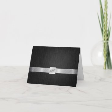 Elegant Black and Silver with Monogram Thank You