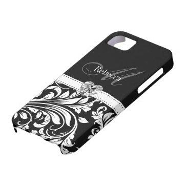 Elegant Black and White Damask iPhone SE/5/5s Case