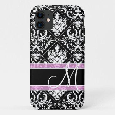 Elegant black and white damask with monogram iPhone 11 case