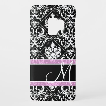 Elegant black and white damask with monogram Case-Mate samsung galaxy s9 case