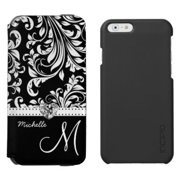 Elegant Black and White Damask with Monogram iPhone 6/6s Wallet Case