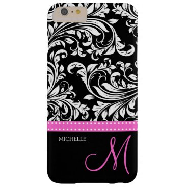 Elegant black and white Damask with Pink monogram Barely There iPhone 6 Plus Case