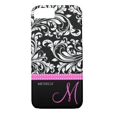 Elegant black and white Damask with Pink monogram iPhone 8/7 Case