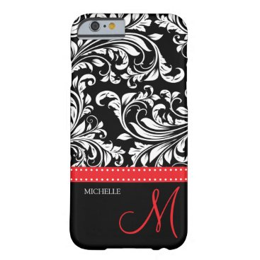 Elegant black and white Damask with red monogram Barely There iPhone 6 Case