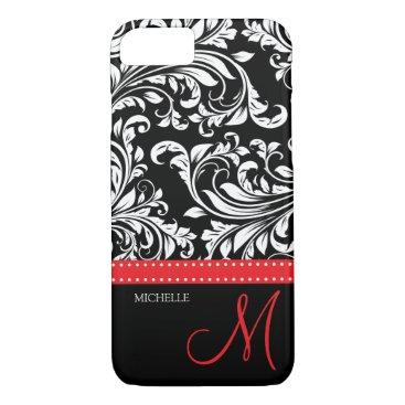 Elegant black and white Damask with red monogram iPhone 8/7 Case