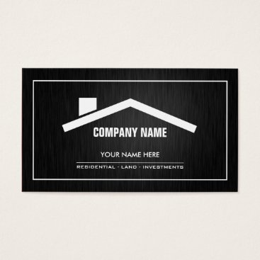 Elegant black and white Real Estate Business Card