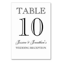 Elegant Black and White Table Number Card Table Cards | Zazzle