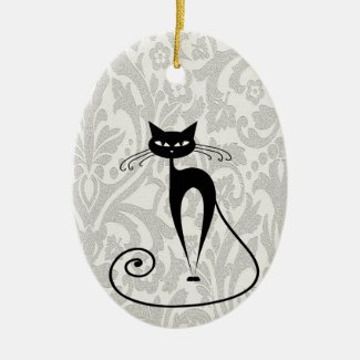 Retro Black Cat Ornament