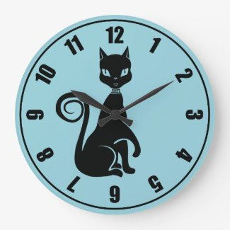Elegant Black Cat Wall Clock