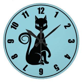 Elegant Black Cat Wall Clock
