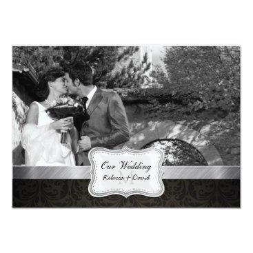 Elegant Black Damask Wedding Photo invites