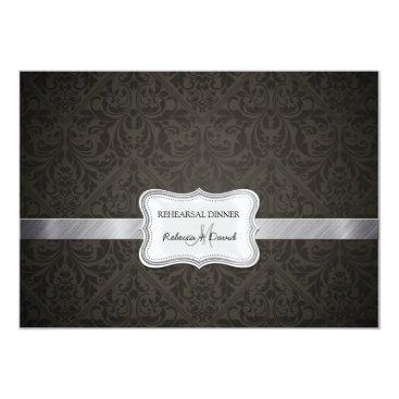 Elegant Black & Dark Gray Damask Rehearsal Dinner Card
