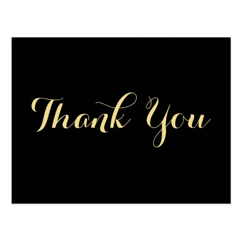 Elegant Black Faux Gold Script Wedding Thank You Postcard