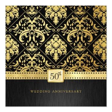 Elegant Black & Gold 50th Wedding Anniversary Card
