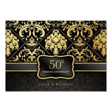 Elegant Black & Gold 50th Wedding Anniversary Invitation