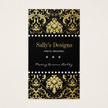 Elegant Black & Gold Damask Interior Designer Business Card