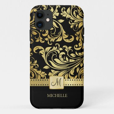 Elegant Black & Gold Damask with Monogram iPhone 11 Case