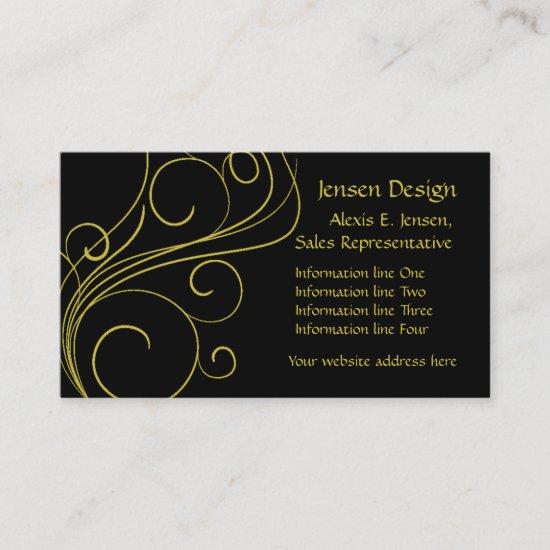 Elegant Black Gold Swirl Business Card